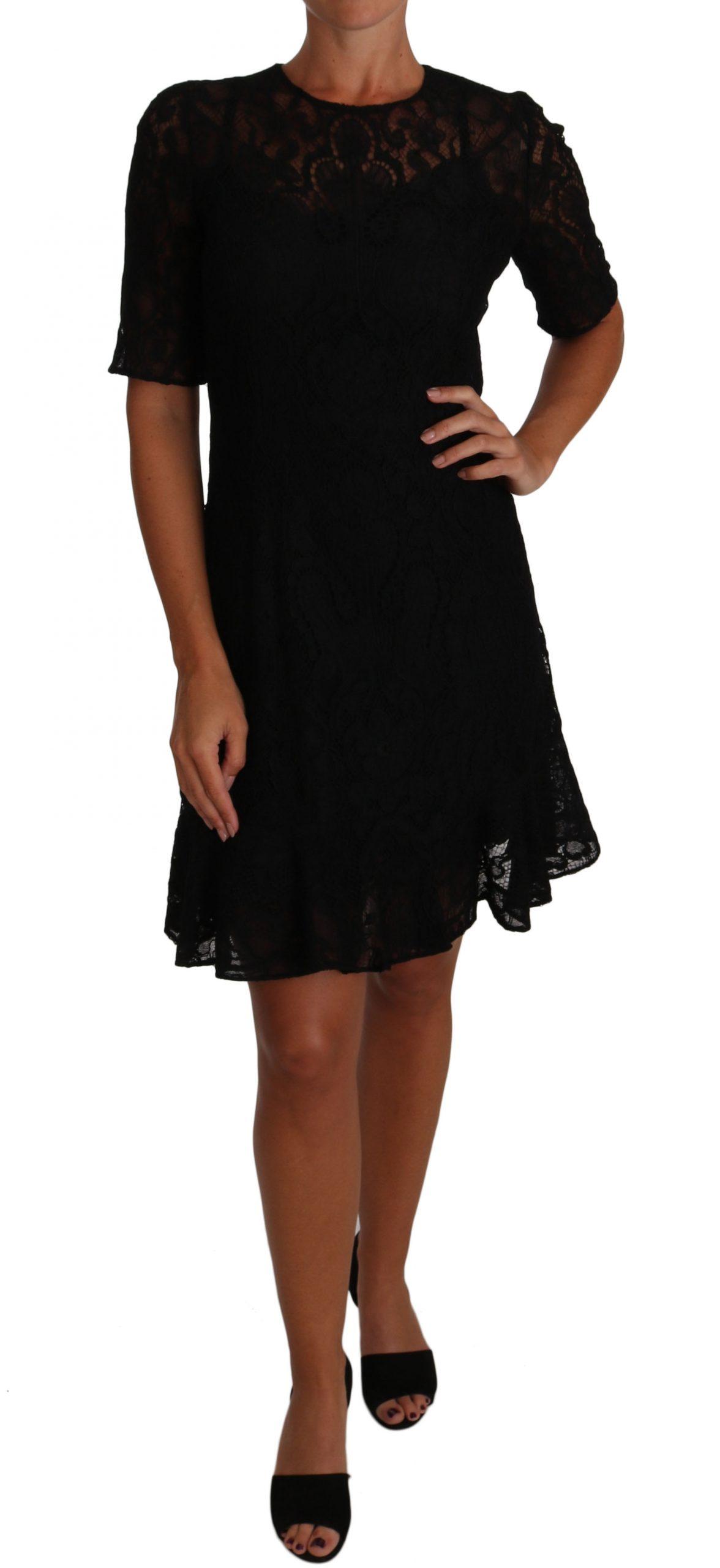 Dolce & Gabbana Women's Floral Lace Sheath SS Dress Black DR1500 - IT40|S