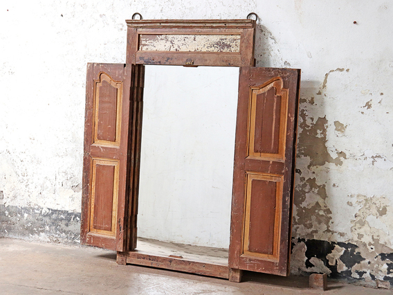 Antique Shuttered Window Frame Mirror Brown