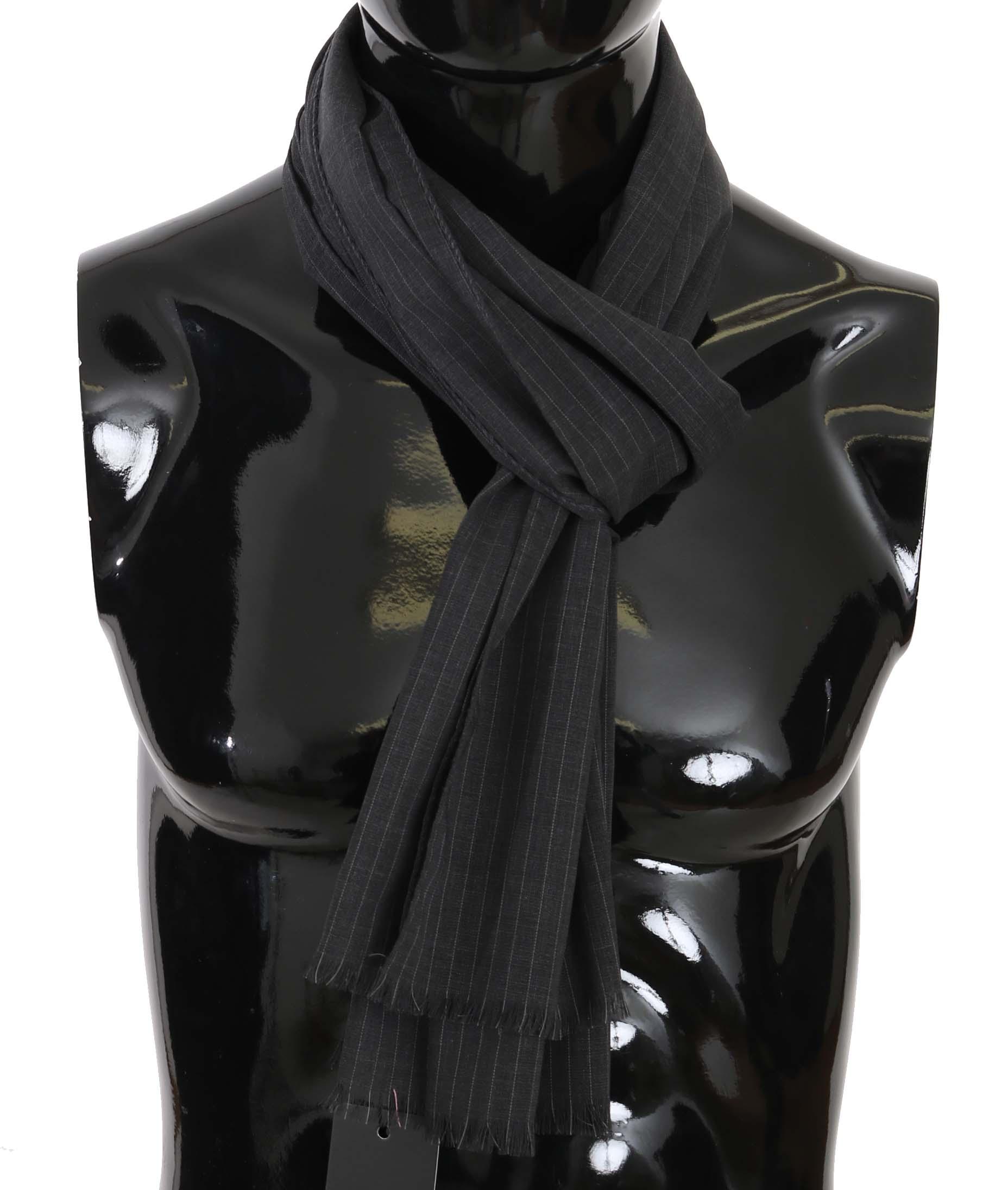 Dolce & Gabbana Men's Wool Striped Pattern Wrap Scarf Gray MS5180