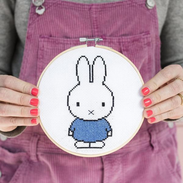 Miffy Blue Cross Stitch Hoop Kit