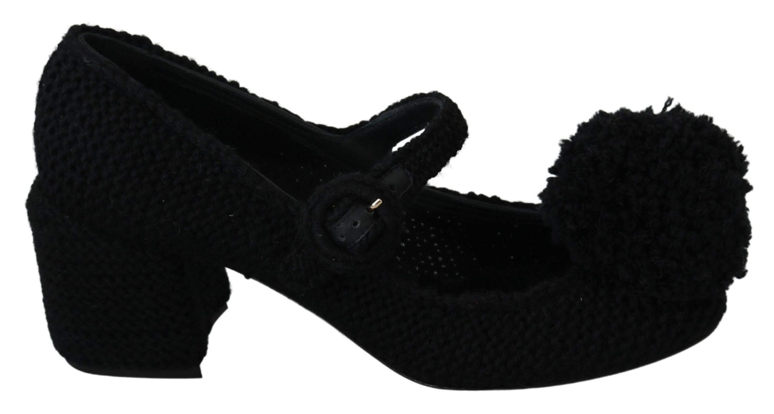 Dolce & Gabbana Women's Pom Pom Mary Jane Pumps Black LA6890 - EU39/US8.5