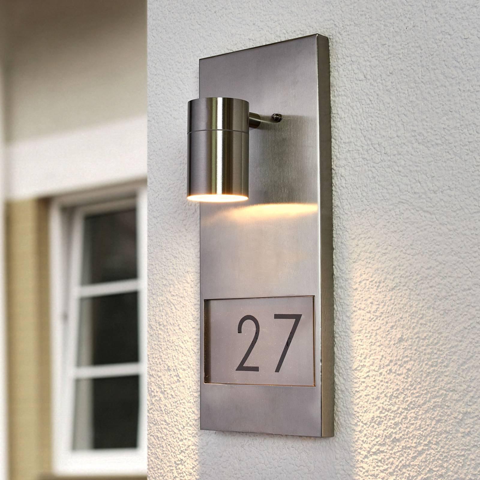 Flott husnummerlampe Modena 7655, rustfritt stål