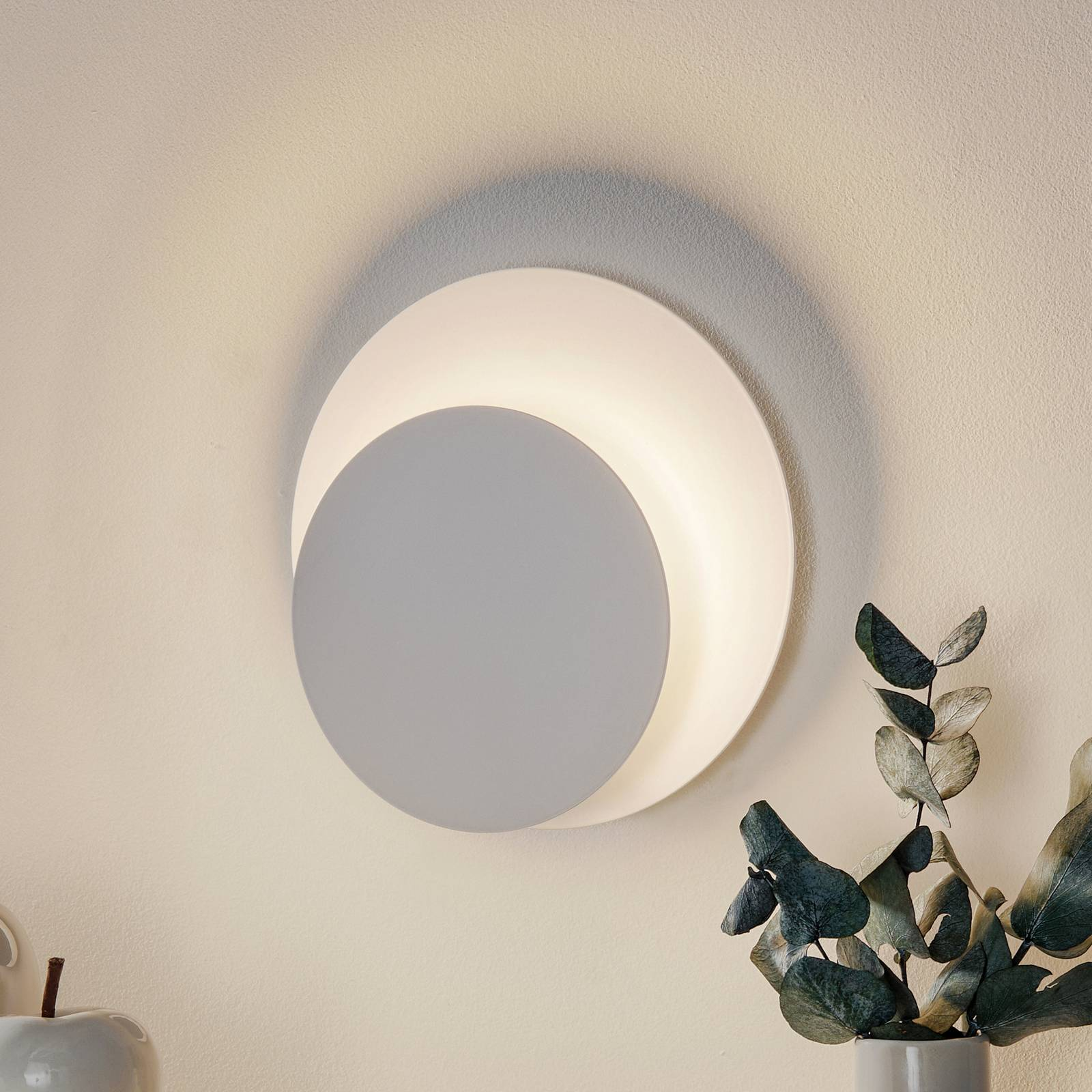 Seinävalaisin Circle, pyöreä, valkoinen