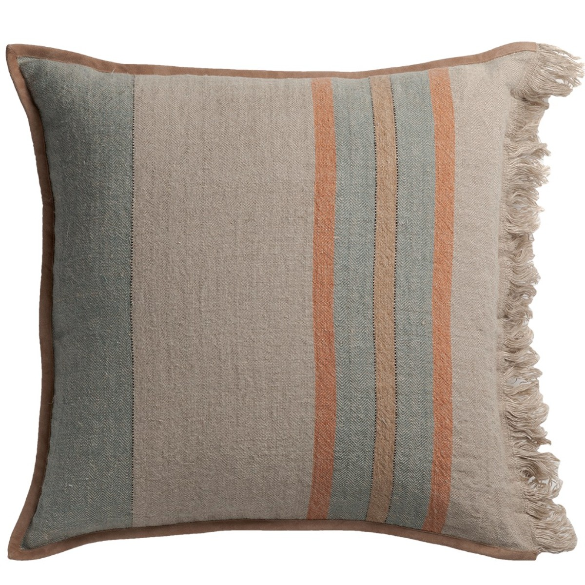 de Le Cuona | Striped Linen Cushion With Fringe & Suede Trim Teal/Clay