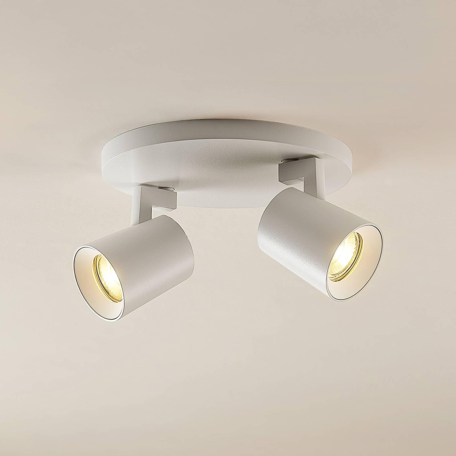 Arcchio Iavo -spotti, pyöreä, 2 lamppua, valkoinen