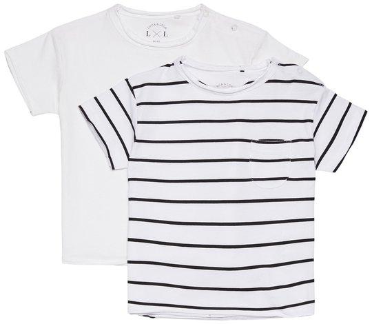 Luca & Lola Ettore T-Skjorte 2-pack, White/Stripes 86-92