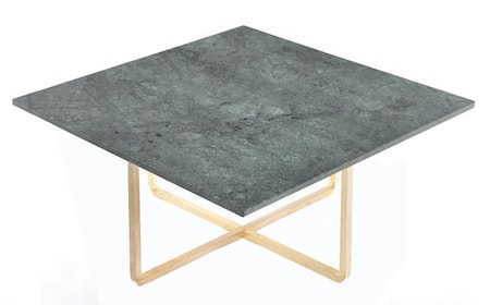Ninety soffbord - Grön marmor/mässingsstomme