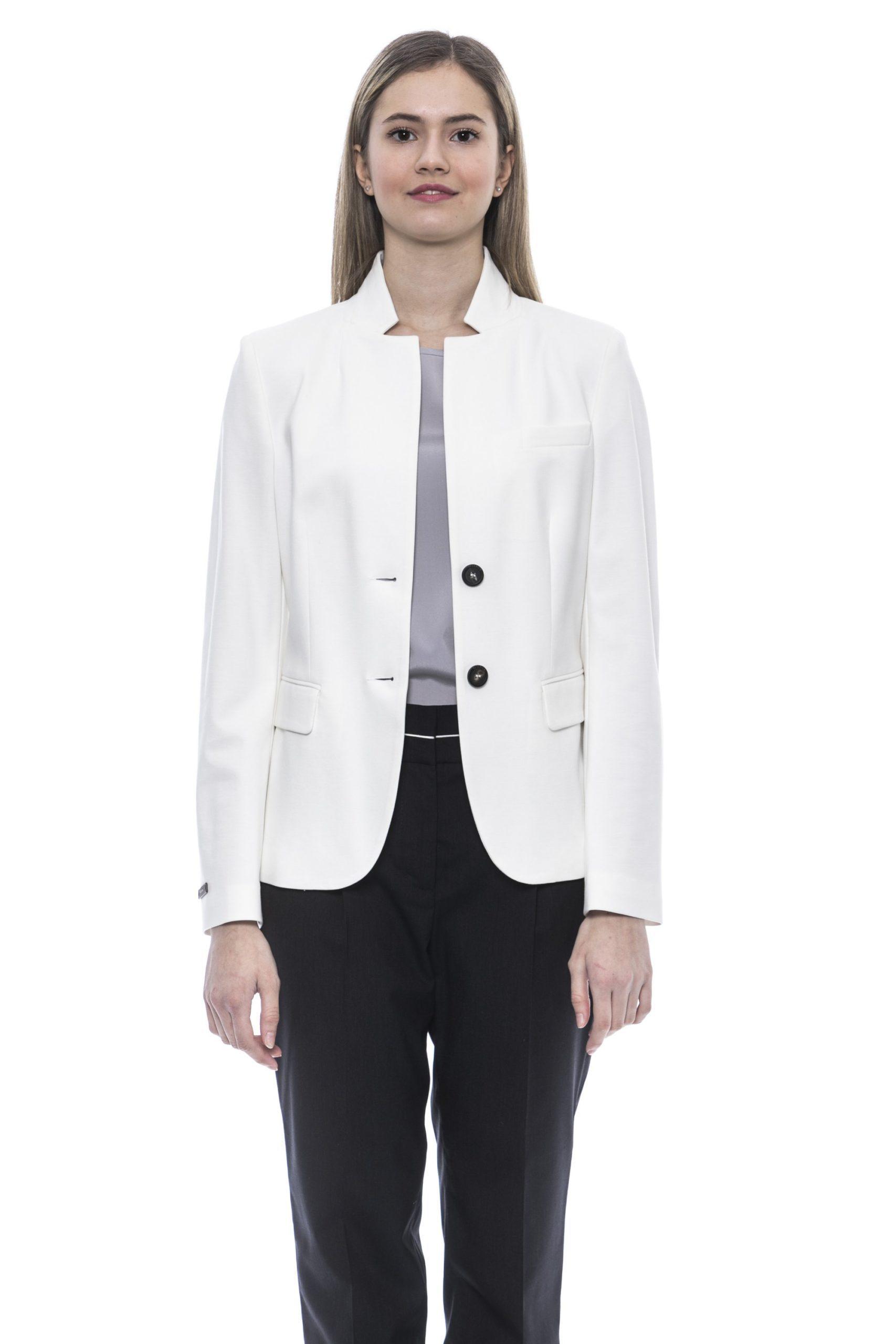 Peserico Women's Bianco Blazer White PE1383334 - IT42 | S