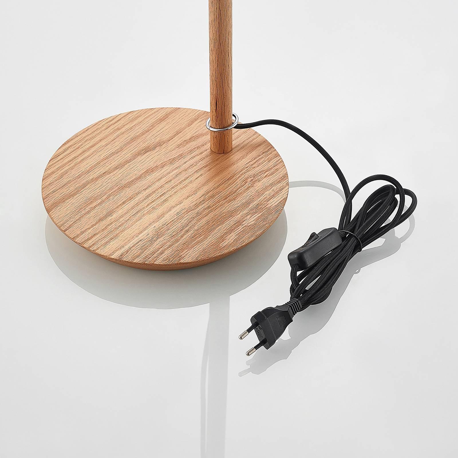 Lucande Jinda bordlampe, trestamme, blått stoff