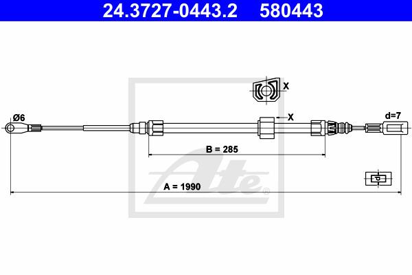 Käsijarruvaijeri ATE 24.3727-0443.2