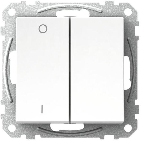 Schneider Electric Exxact WDE002141 Kytkin nelikulmainen keinuvipu, ilman kouria, valkoinen 2 +1-napainen