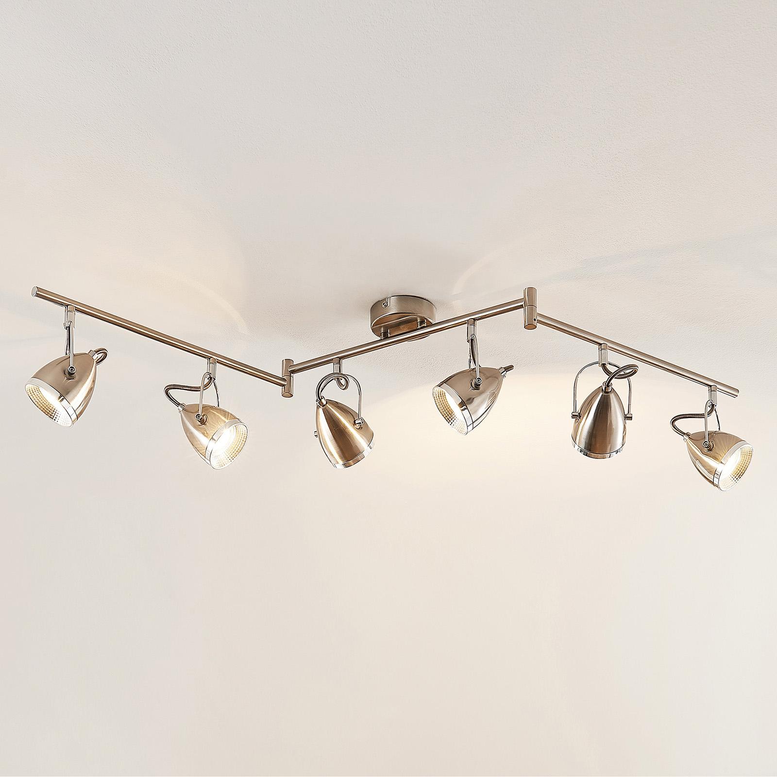 Lindby Jadon LED -kattovalaisin nikkeli, 6-lamp.