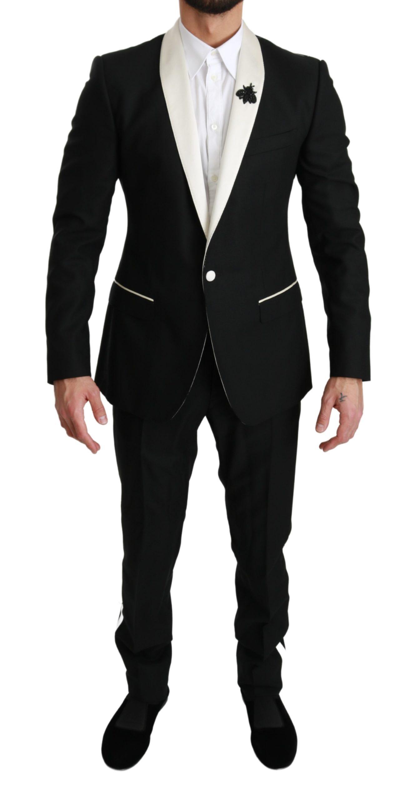 Dolce & Gabbana Men's Wool Royal Bee 2 Piece MARTINI Suit Black KOS1672 - IT48 | M
