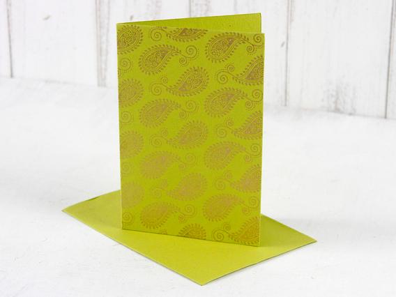 Lime Green Paisley Greeting Card Medium