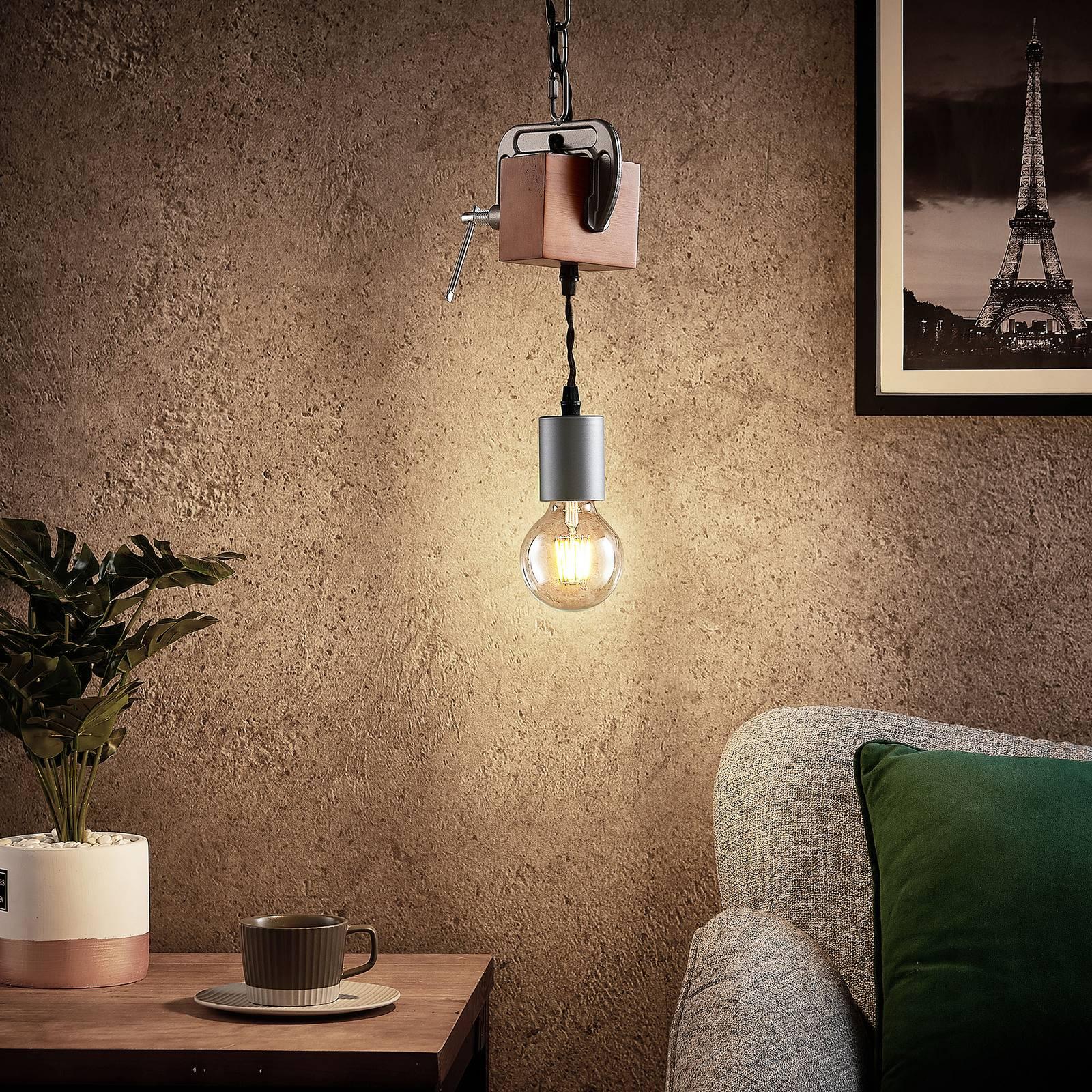 Lindby Asya -riippuvalo 1-lamppuinen, puu, kromi