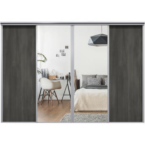 Mix Skyvedør Black wood / Sølvspeil 3400 mm 4 dører
