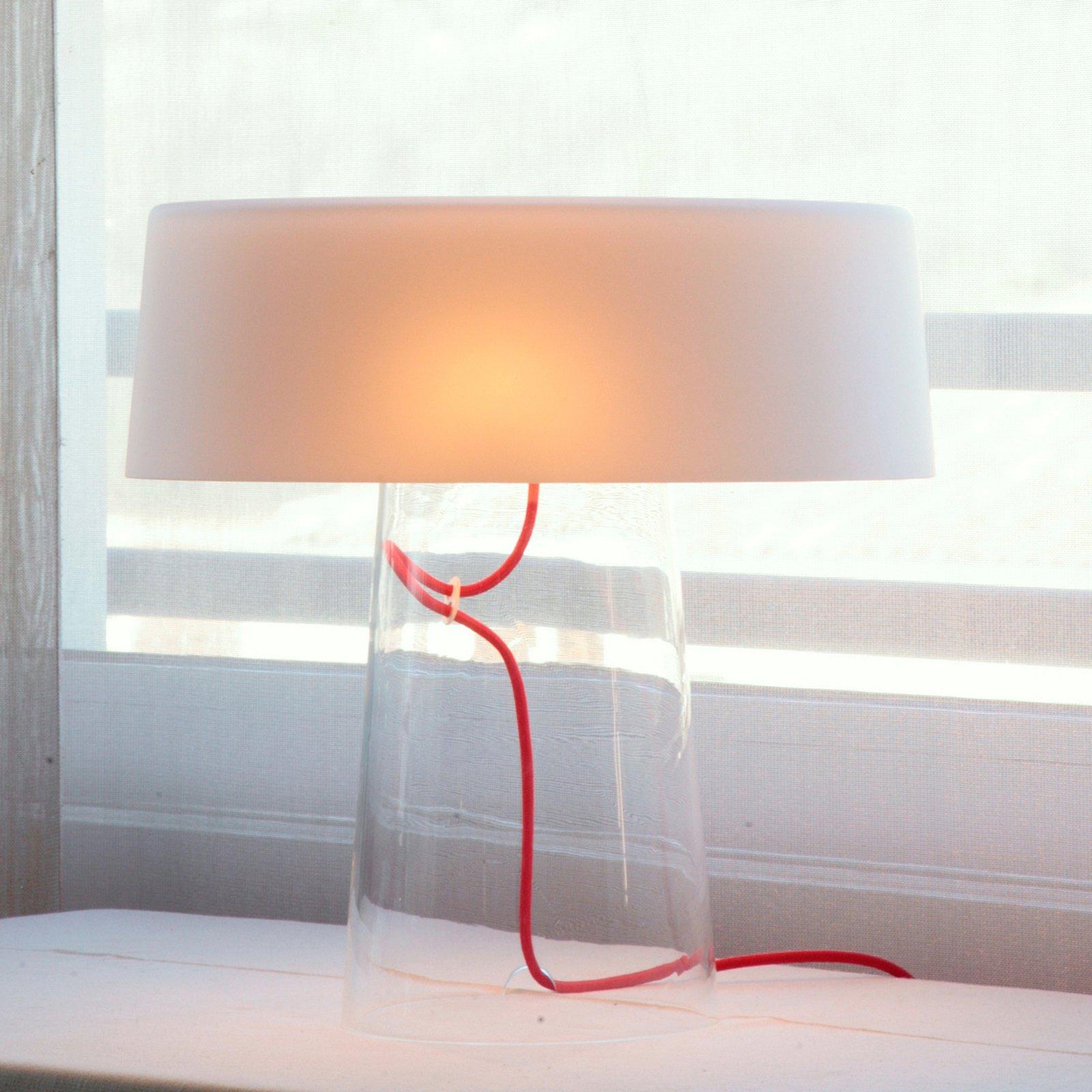 Prandina Glam bordlampe 36 cm klar / skjerm hvit