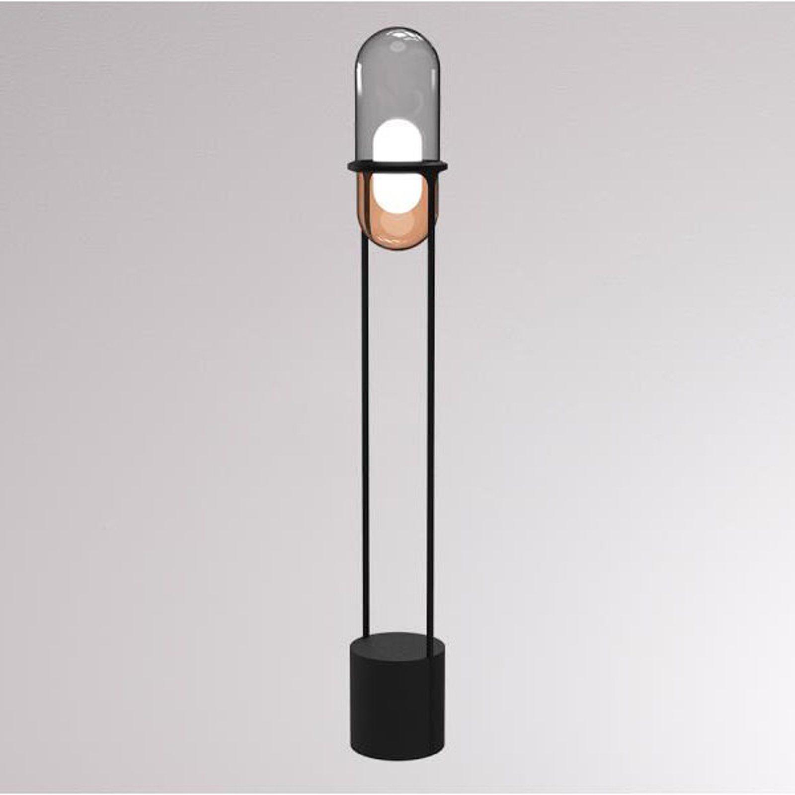 LOUM Pille LED-gulvlampe grå/kobber
