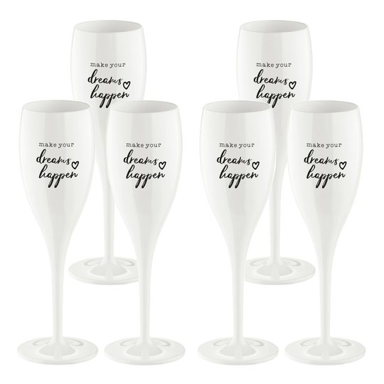 Koziol - Cheers Champagneglas med text 6-pack Make Dreams Happen