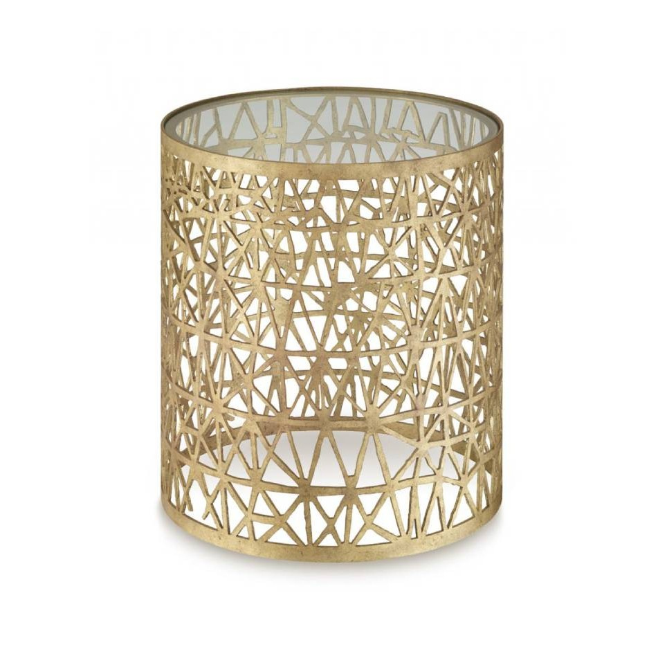 Porta Romana I Cocoon side table DECAYED GOLD WITH CLEAR GLASS