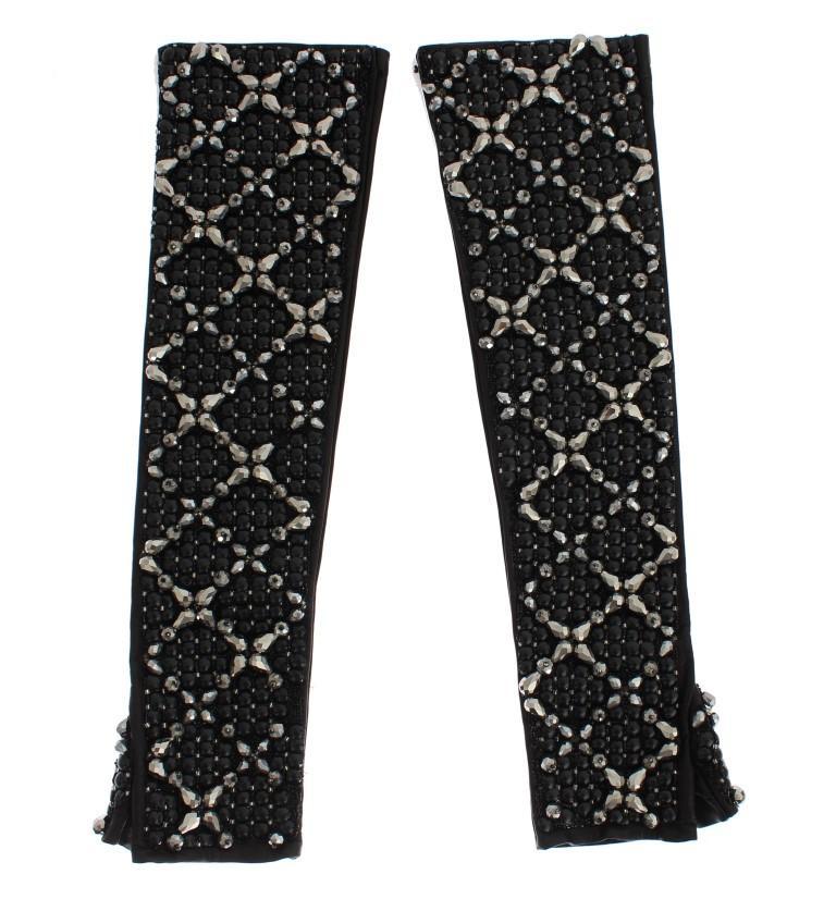 Dolce & Gabbana Women's Leather Crystal Finger Free Gloves Black SIG16559 - 7|S