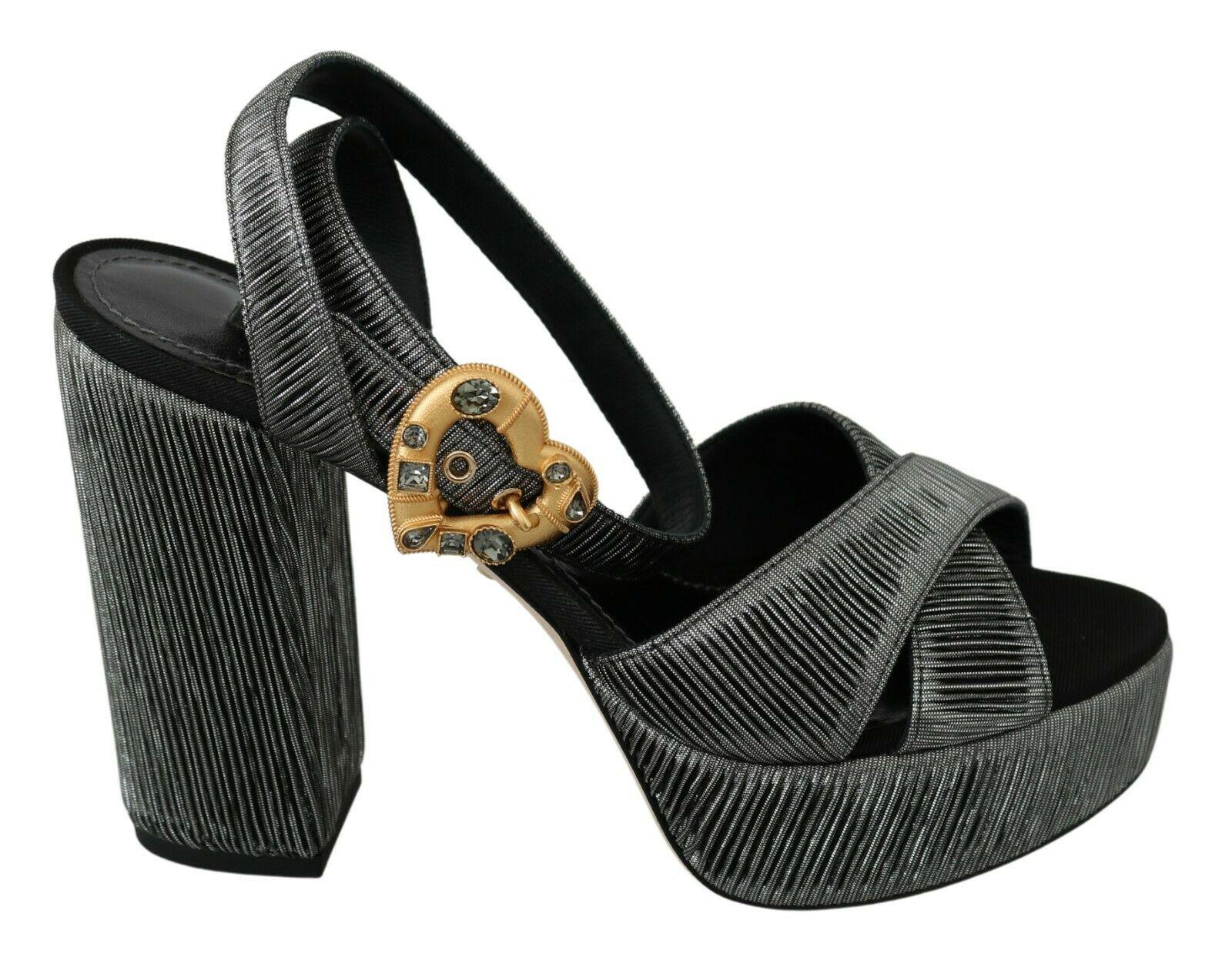 Dolce & Gabbana Women's Heart Sandals Gray LA6579 - EU35/US4.5