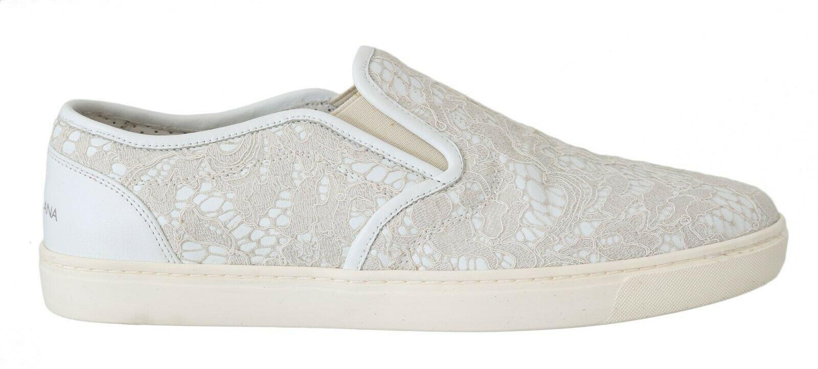 Dolce & Gabbana Women's Leather Lace Slip On Loafers White MV2257 - EU40/US9.5