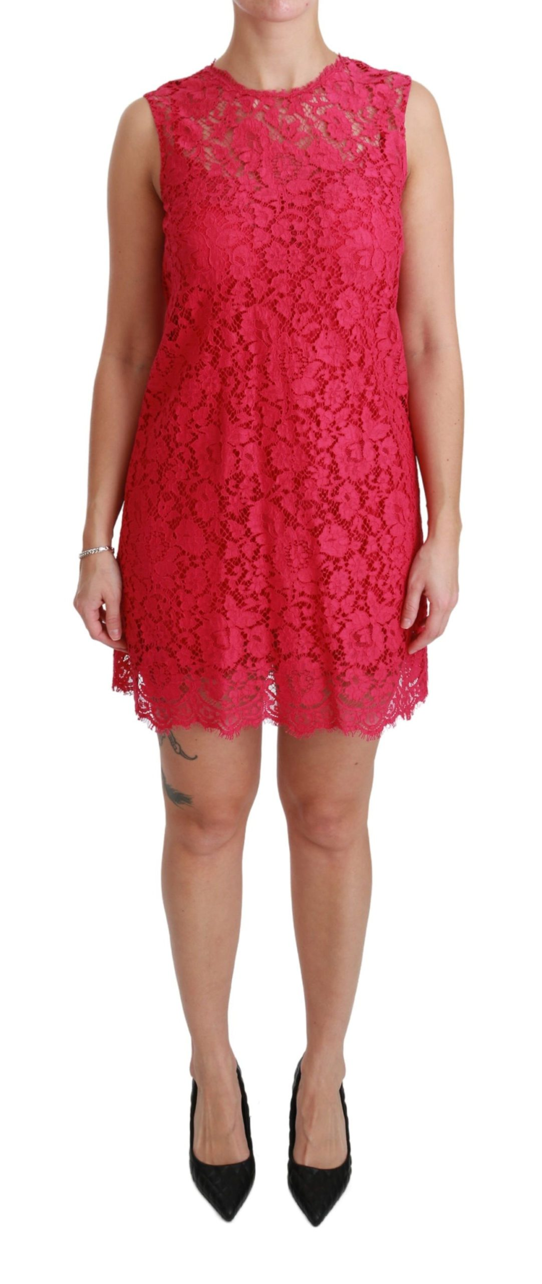 Dolce & Gabbana Women's Floral Lace Shift Gown Mini Dress Pink DR2465 - IT36   XS