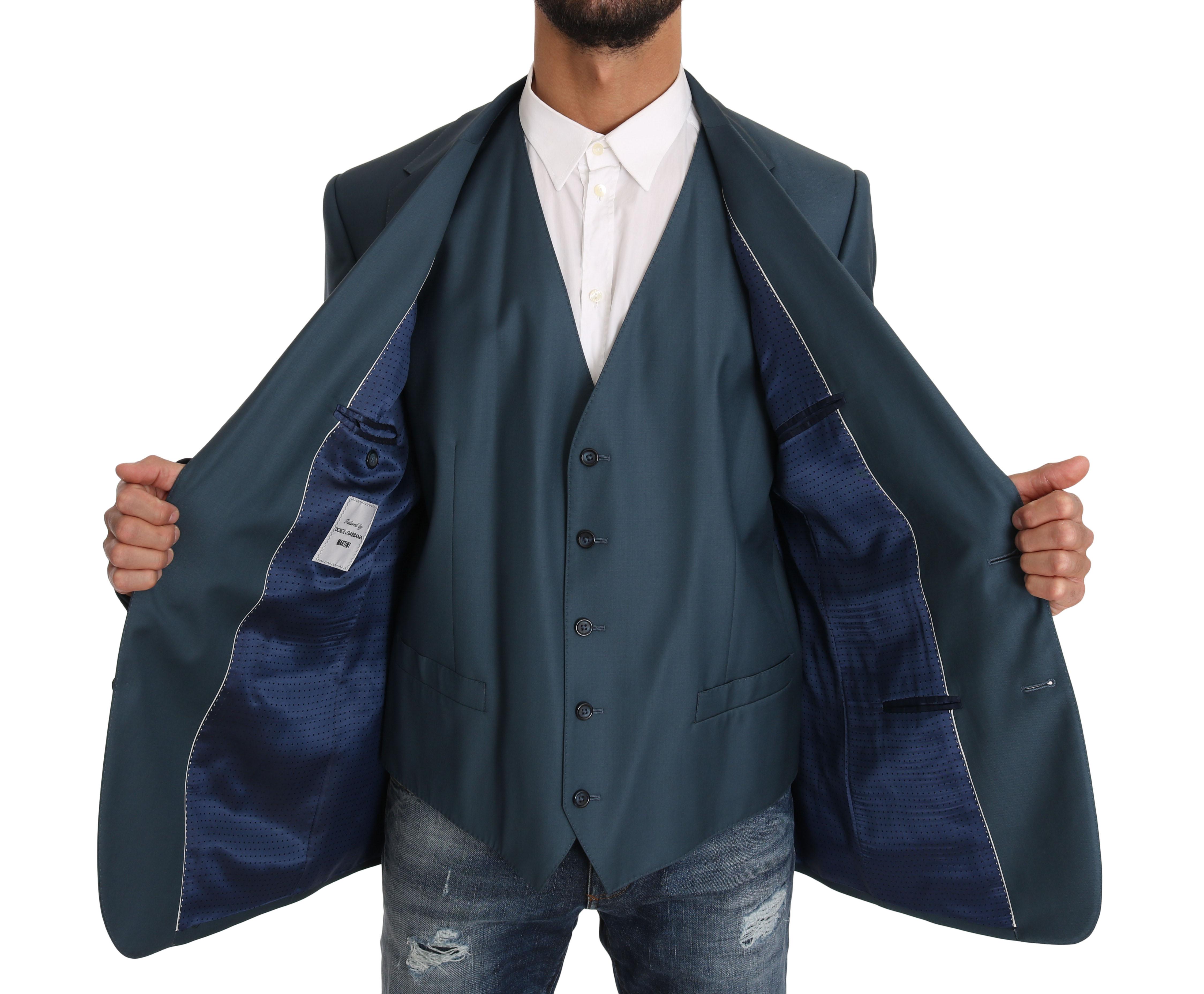 Dolce & Gabbana Men's Vest 2 Piece MARTINI Wool Blazer Blue KOS1187 - IT56 | 3XL
