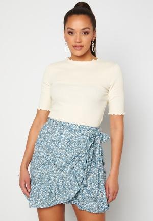 ONLY Olivia Wrap Skirt Dusk Blue/ Flower S
