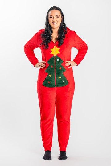 Luca & Lola Adult Albero Jumpsuit, Red Christmas XS-S