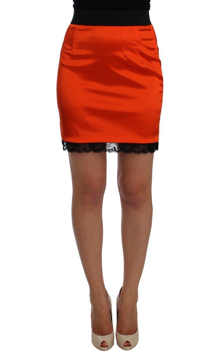 Dolce & Gabbana Women's Lace Pencil Skirt Orange SIG20142 - IT40 S