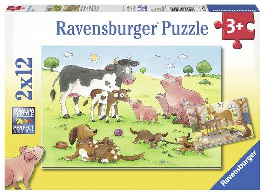 Ravensburger Puslespill Glade Dyrefamilier 2x12 Biter