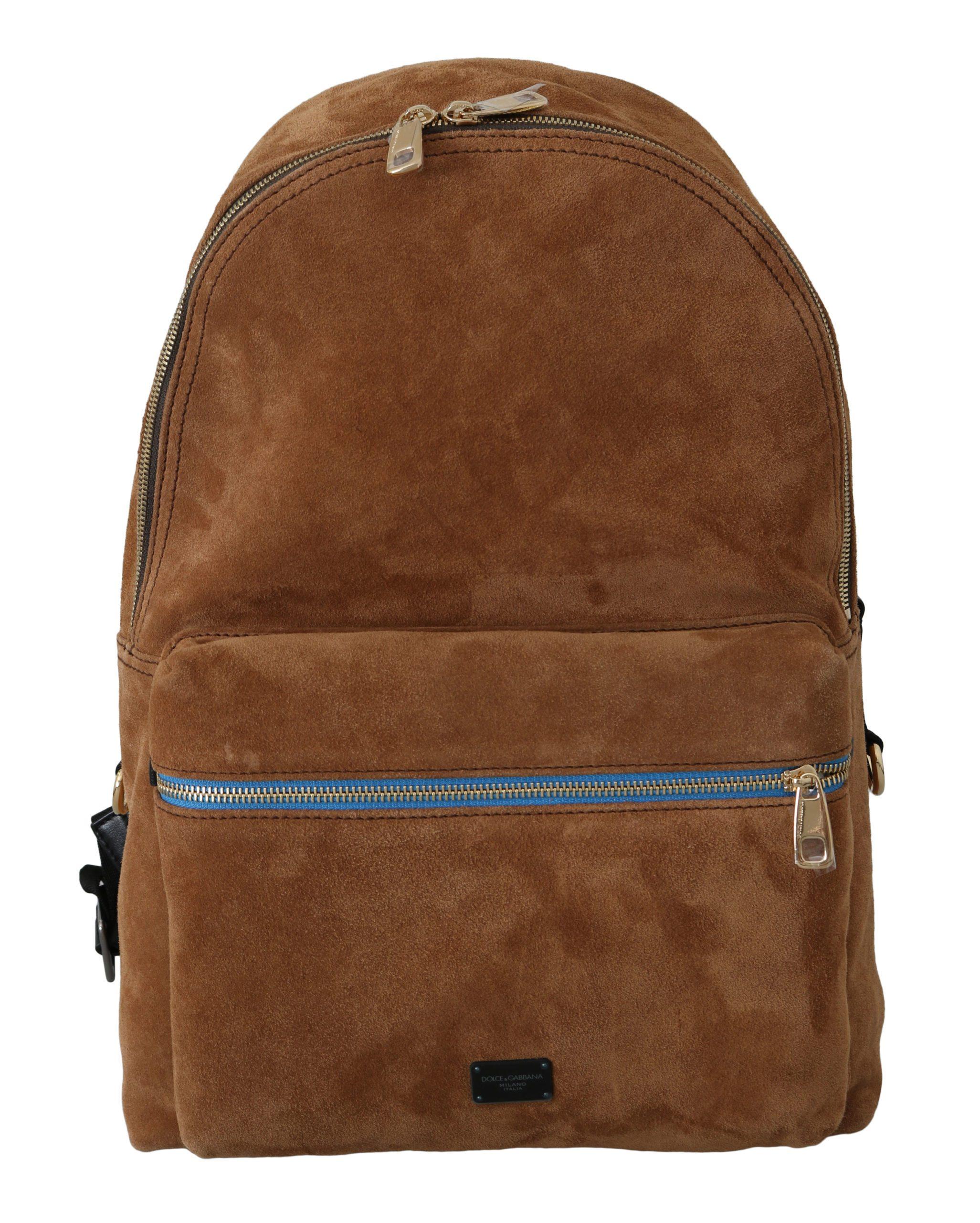 Dolce & Gabbana Men's Suede School Travel Backpack Brown VAS8840