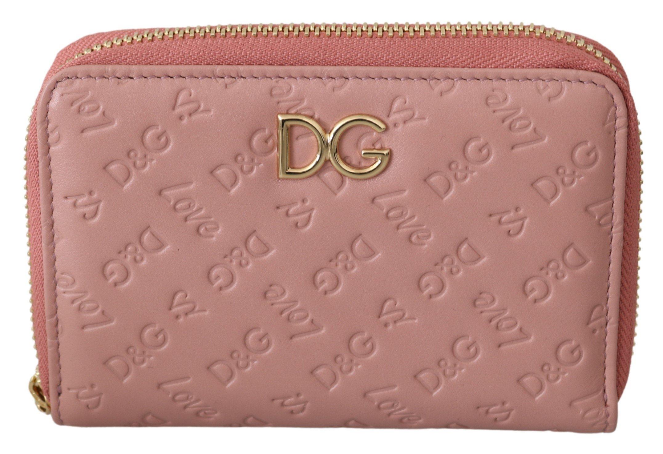 Dolce & Gabbana Women's Logo Leather Leopard Zipper Bill Card Coin Wallet Pink VAS9676