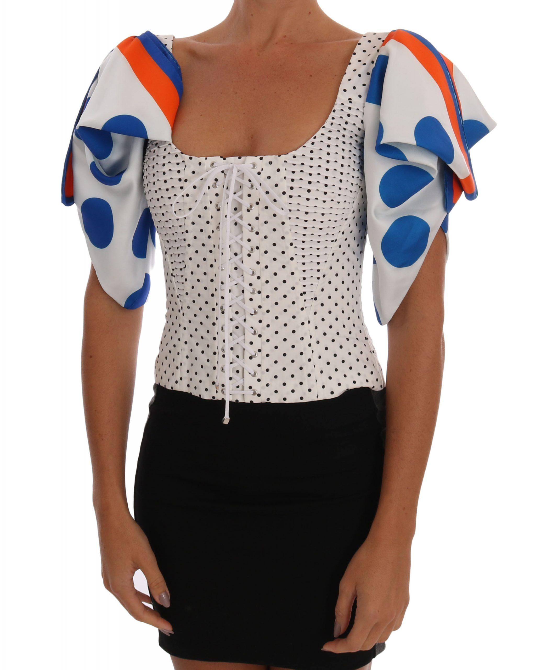Dolce & Gabbana Women's Polka Silk Tops Black/White TSH1521 - IT48 XXL