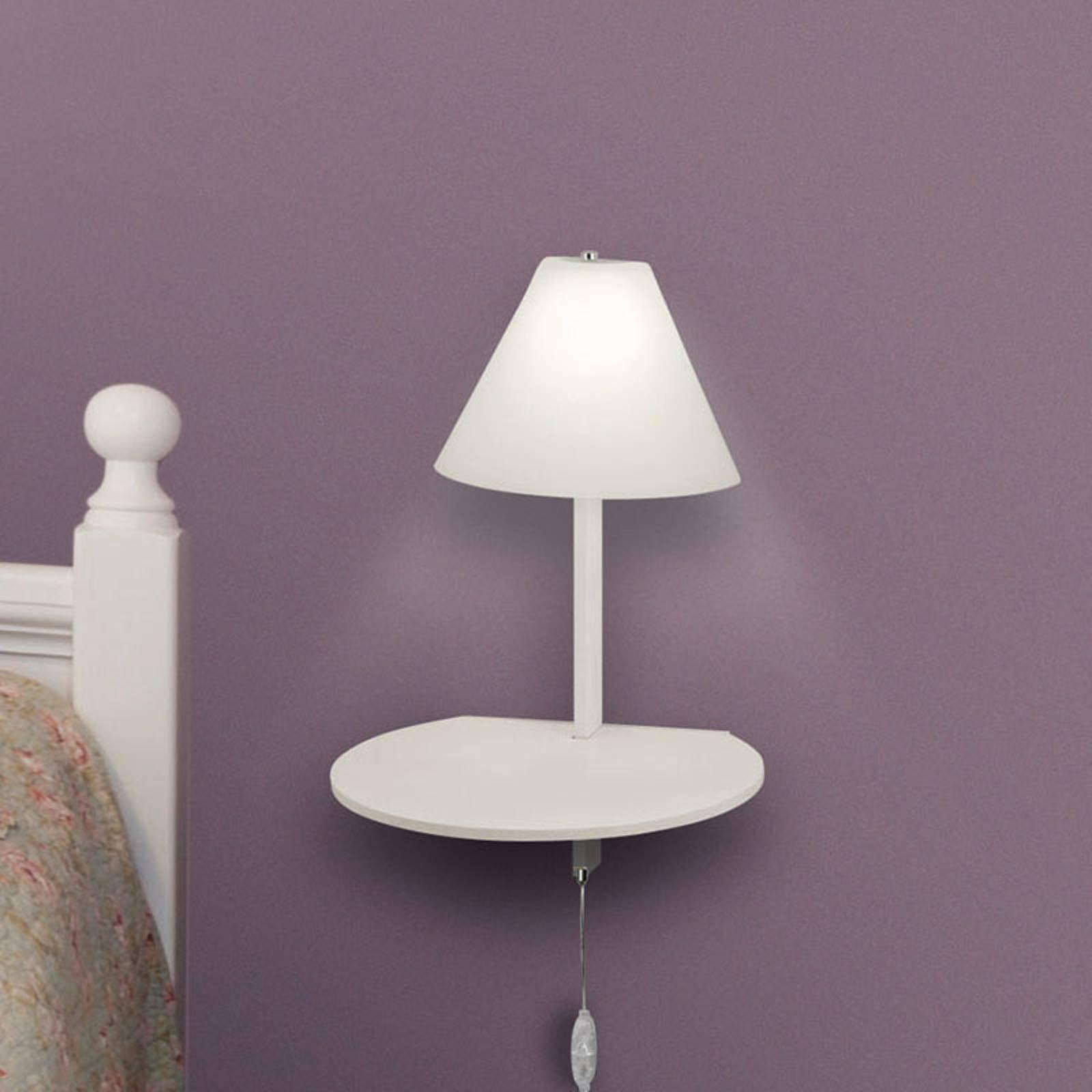 LED-vegglampe Goodnight, USB-port, hvit
