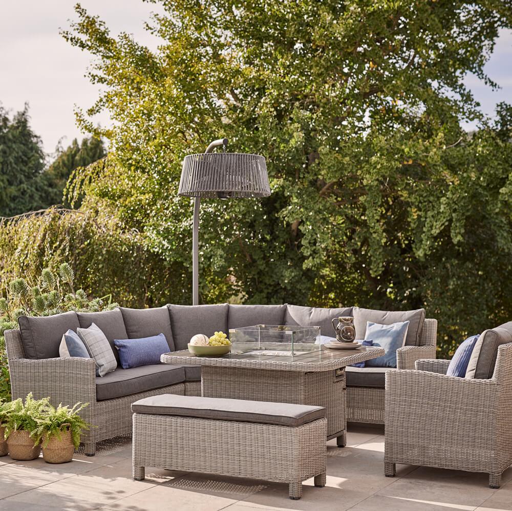 2021 Kettler Palma Grande Fire Pit Casual Garden Dining Corner Sofa Set – Whitewash