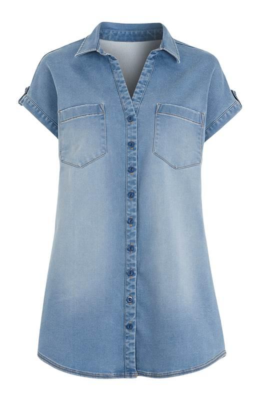 Cellbes Kortärmad jeansskjorta Ljus denim