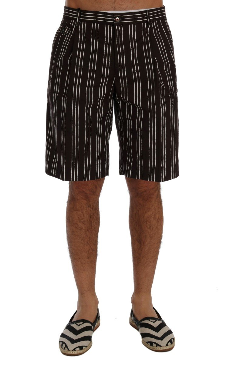 Dolce & Gabbana Men's Striped Hemp Casual Shorts Bordeaux SIG60407 - IT44 | XS