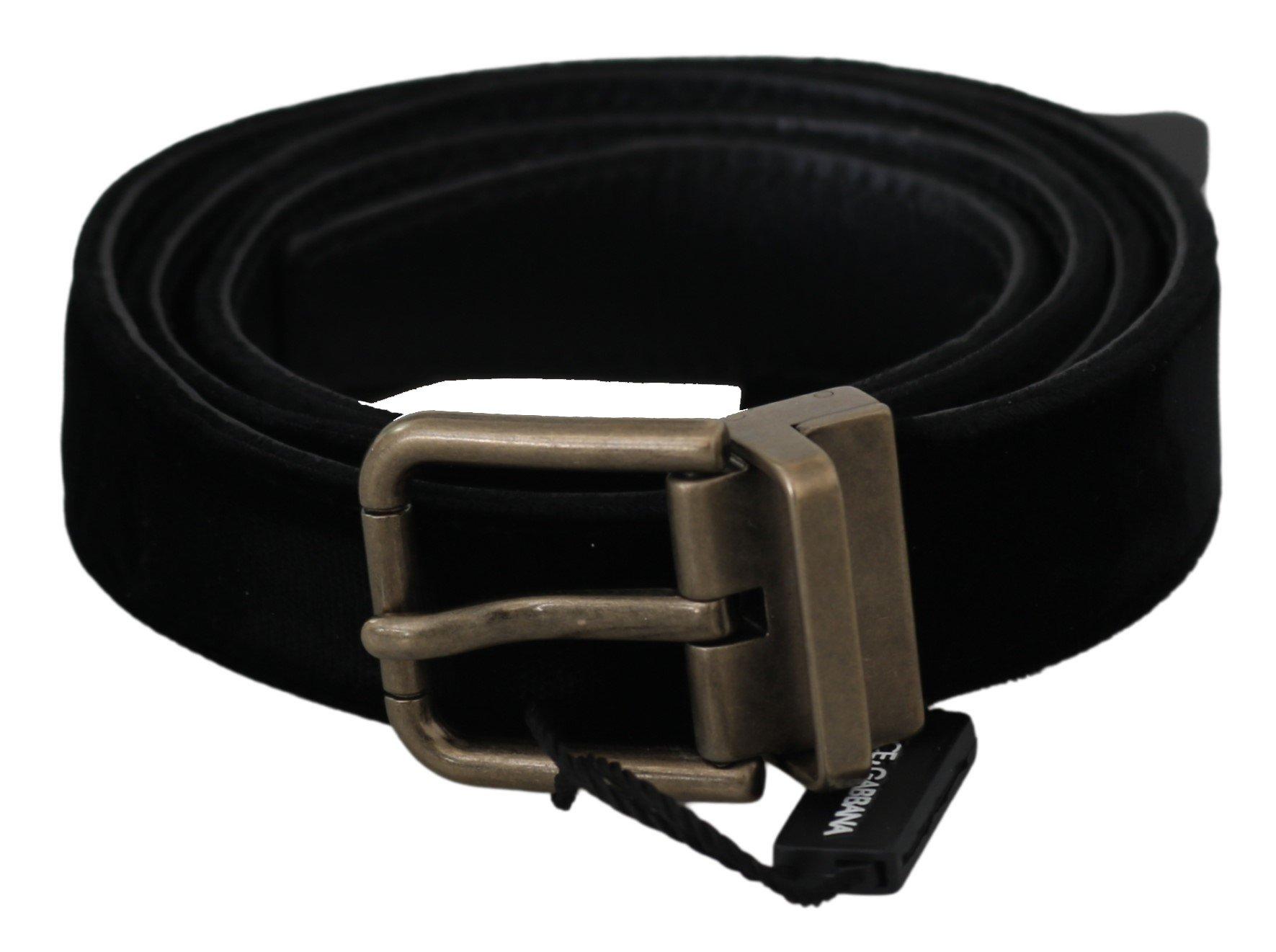 Black Solid Leather Velvet Gold Buckle Belt - 90 cm / 36 Inches