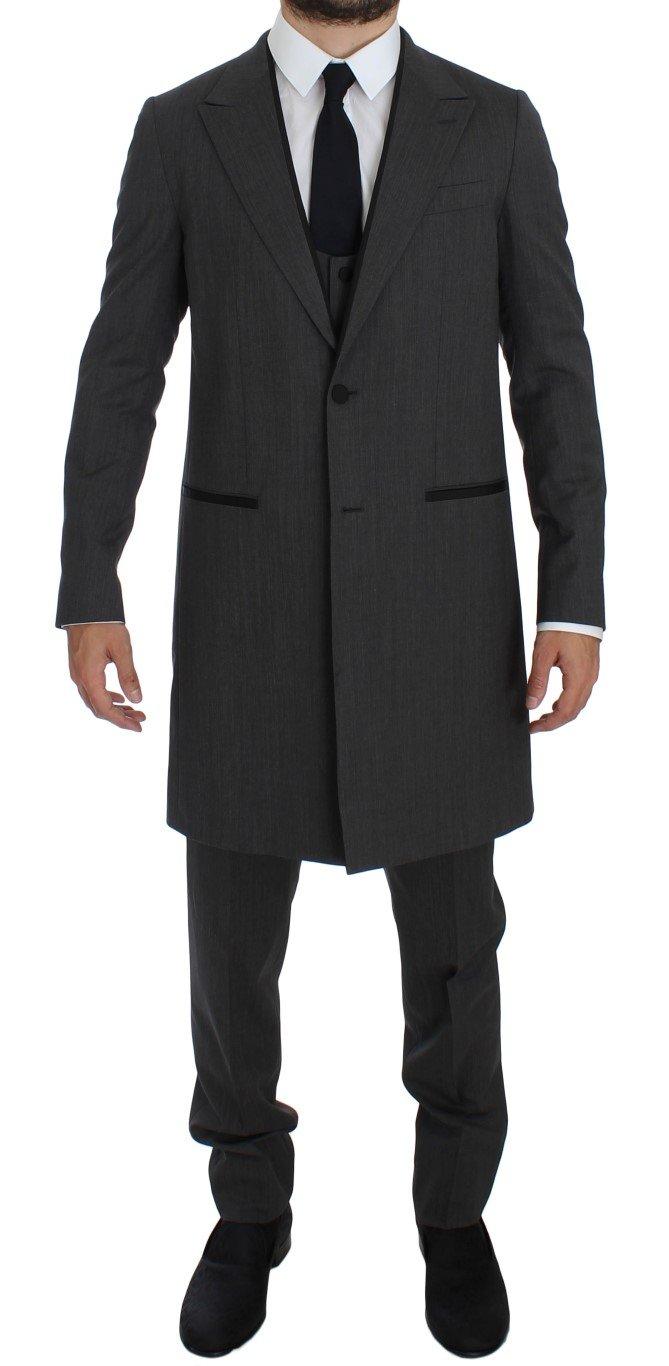 Dolce & Gabbana Men's Wool Stretch 3 Piece Long Blazer Suit Gray GTT10168 - IT46 | S