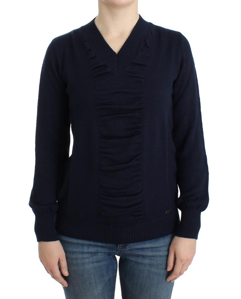 Costume National Women's V-neck Wool Sweater Blue SIG12054 - XS