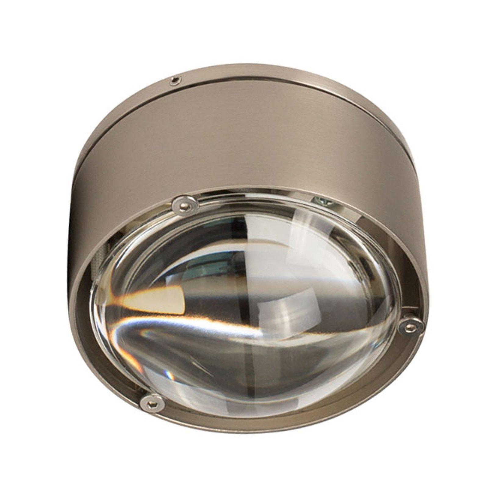 LED-taklampe Puk One 2, nikkel matt