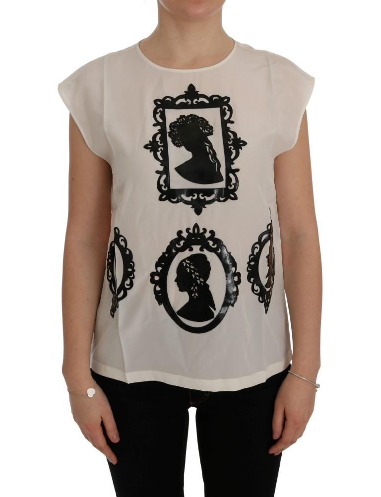 Dolce & Gabbana Women's Silk Frame Top White SIG50498 - IT40 S