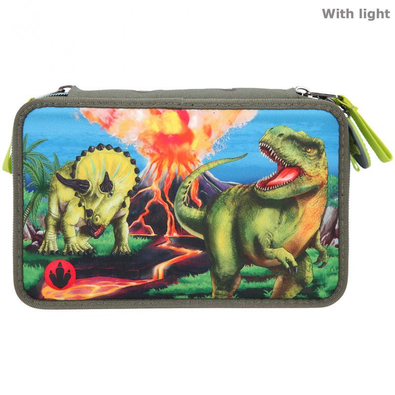 Dino World - Trippel Pencil Case w/LED (0411460)