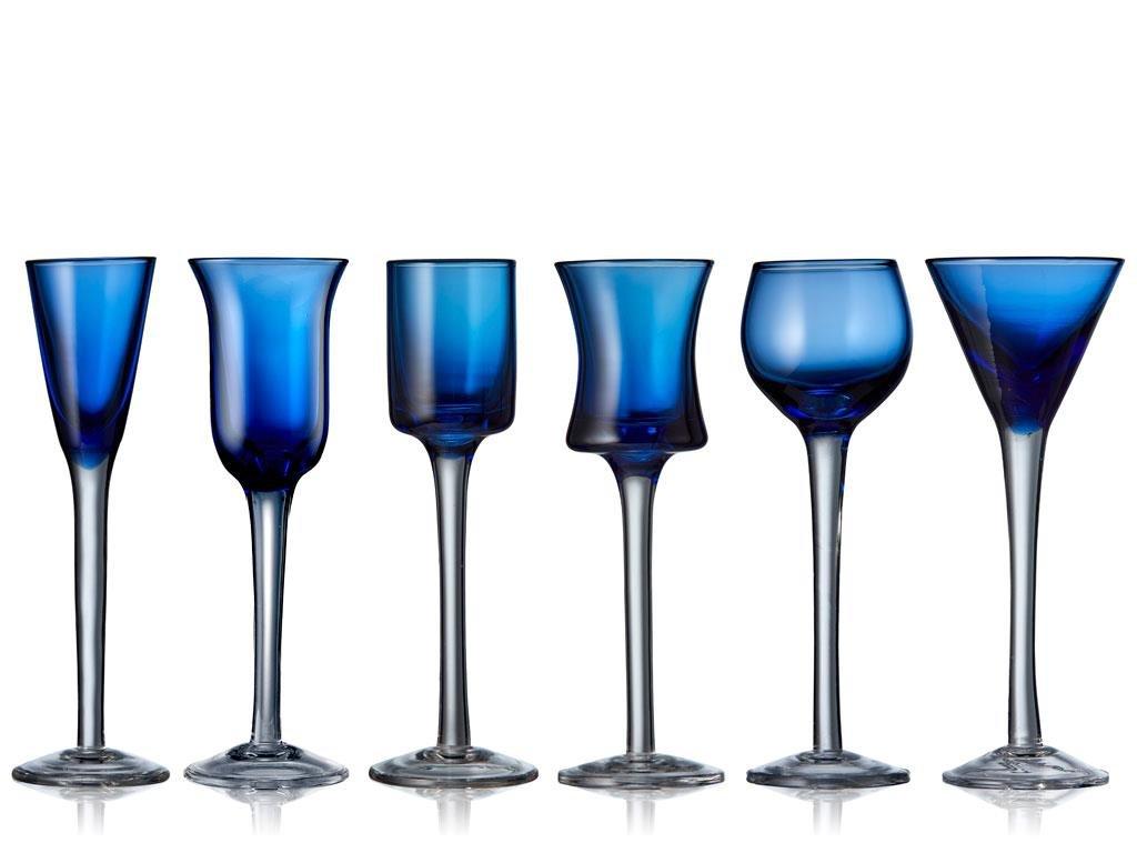 Lyngby Glas - Snaps Glass 6 pcs - Blue (12261)