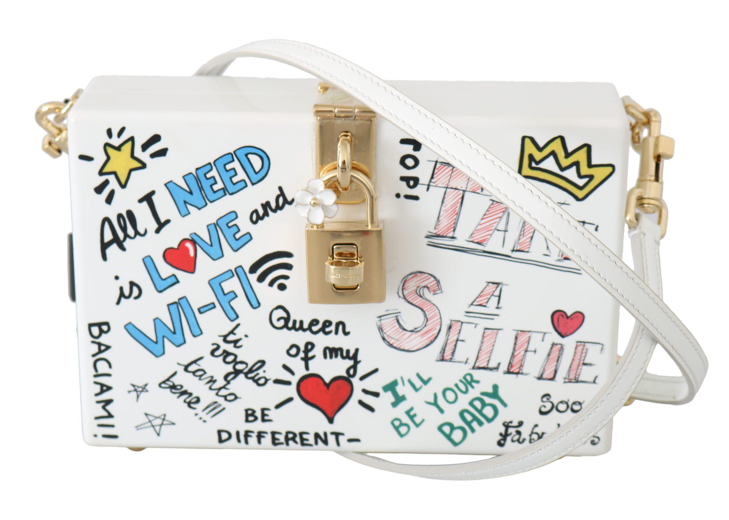 Dolce & Gabbana Women's Hand Painted Wooden Leather Shoulder Bag White VAS8696