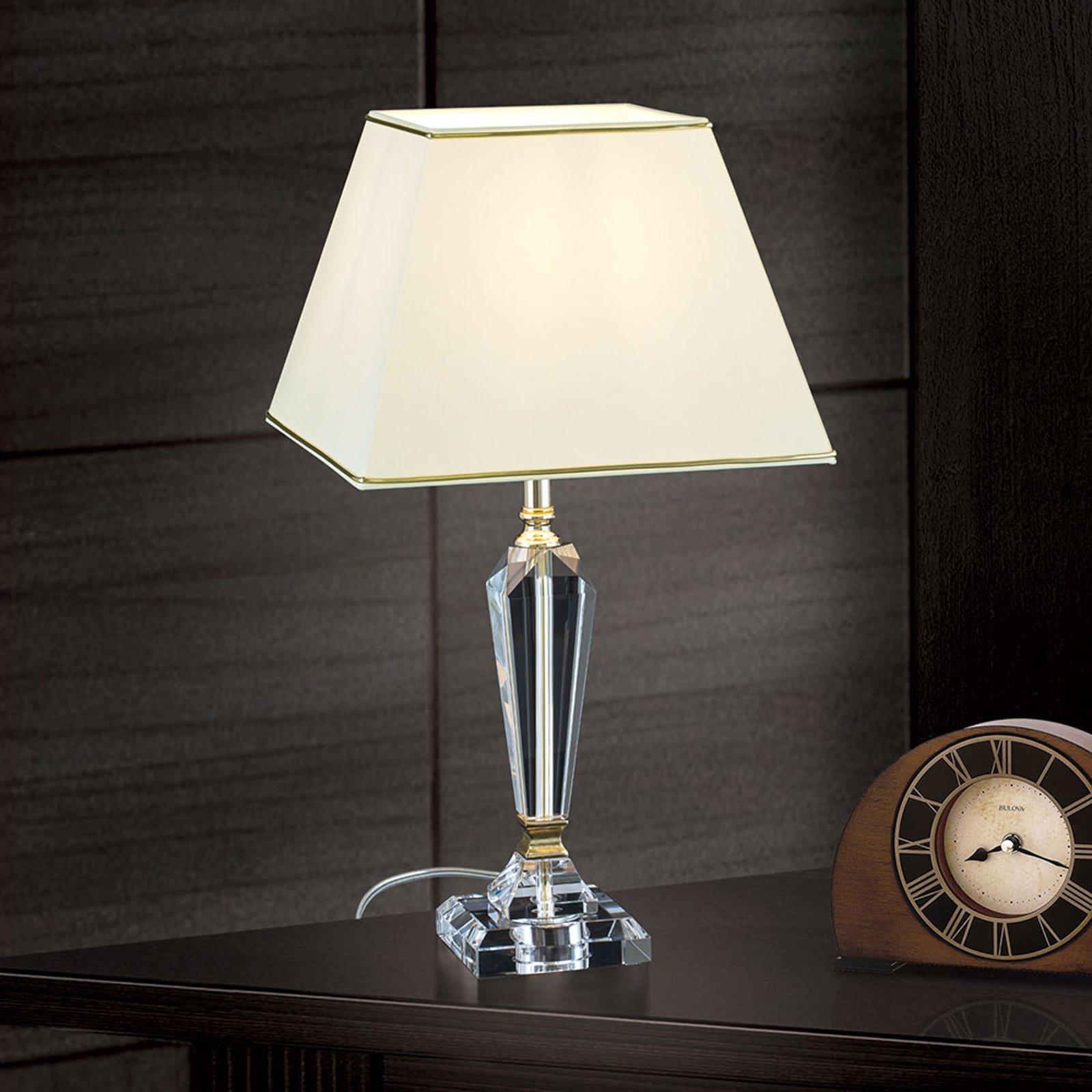 Bordlampe Veronique, fot smal, krem/gull