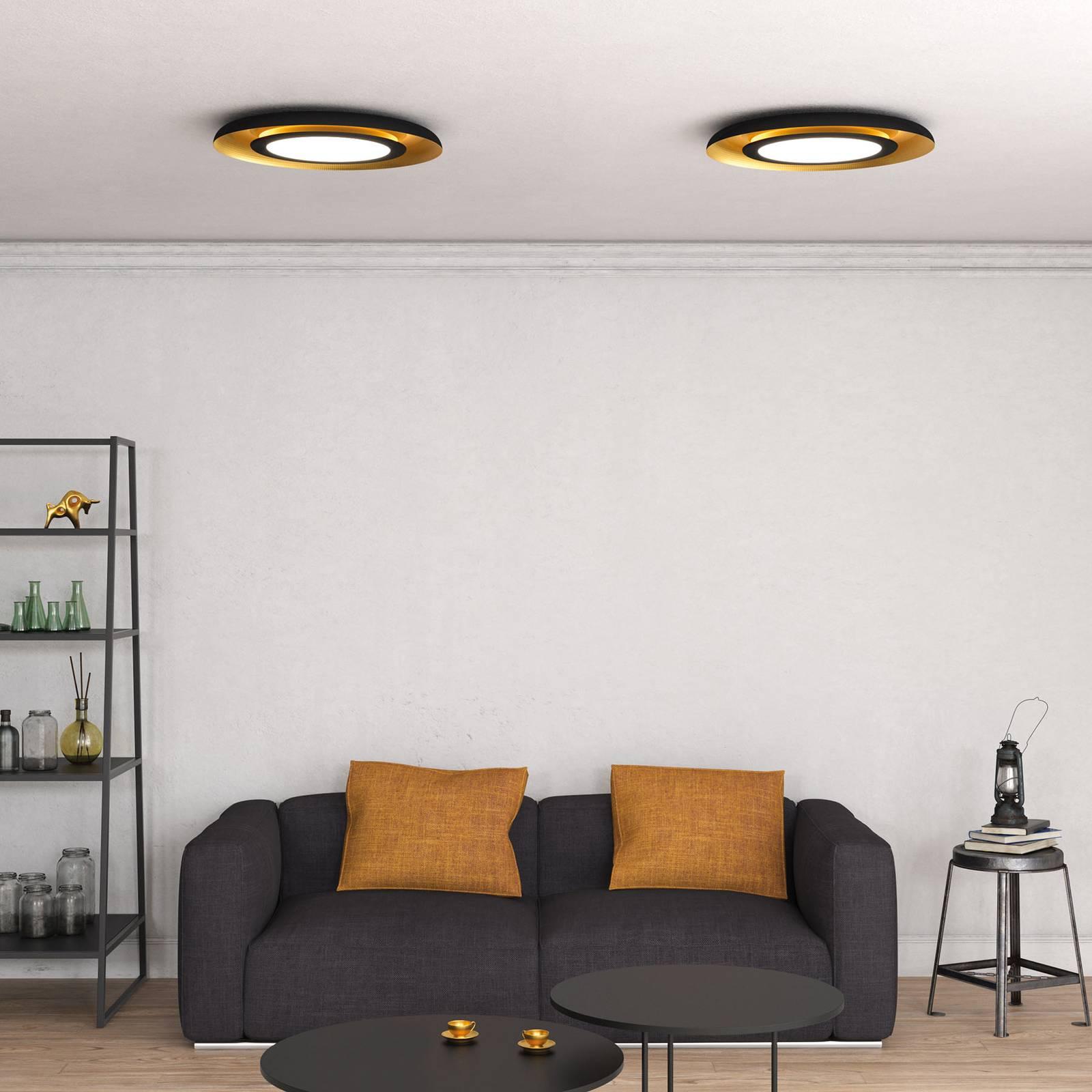 LED-kattovalaisin Shiitake, musta/kulta